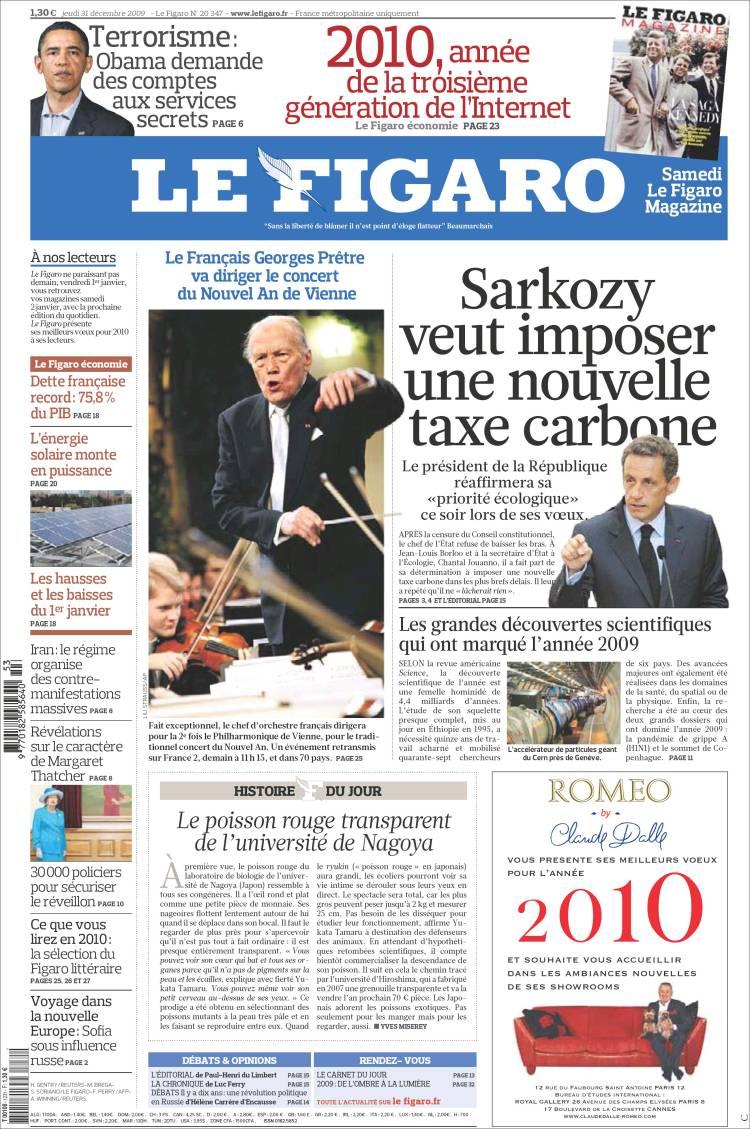 Journal le figaro france les unes des journaux de for Le journal du pays d auge