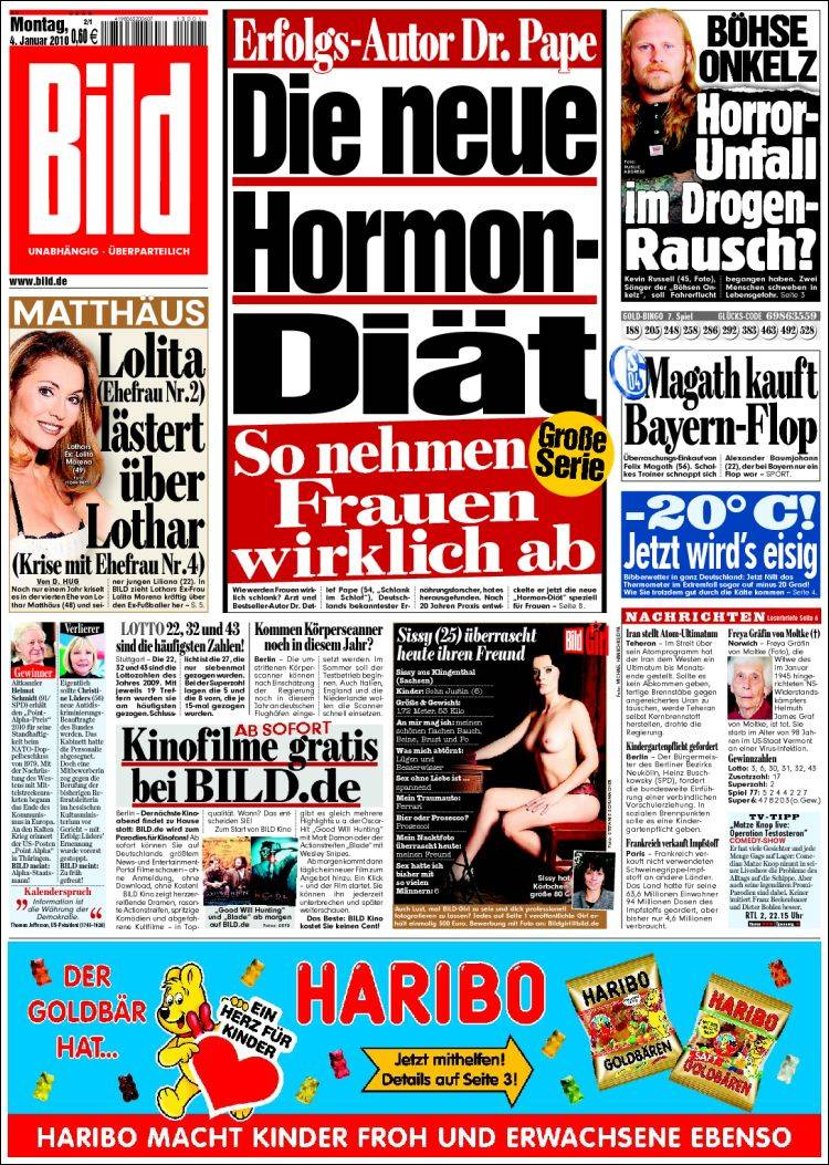 newspaper bild germany newspapers in germany monday 39 s edition january 4 of 2010. Black Bedroom Furniture Sets. Home Design Ideas