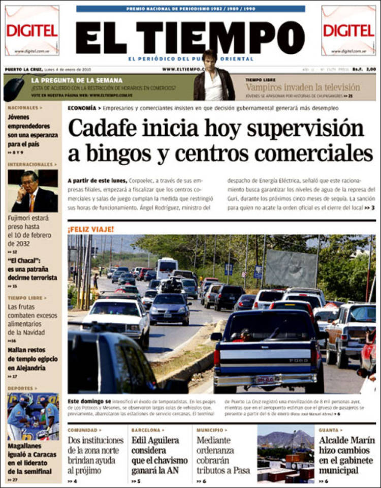 Portada de Diario El Tiempo (Venezuela)
