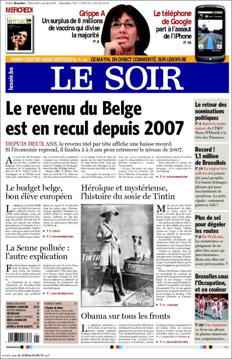 journal le soir belgique les unes des journaux de belgique dition du mercredi 6 de janvier. Black Bedroom Furniture Sets. Home Design Ideas
