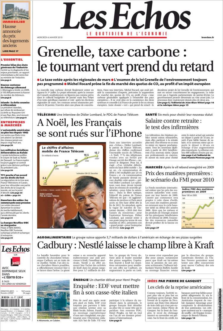Journal les echos france les unes des journaux de for Le journal du pays d auge