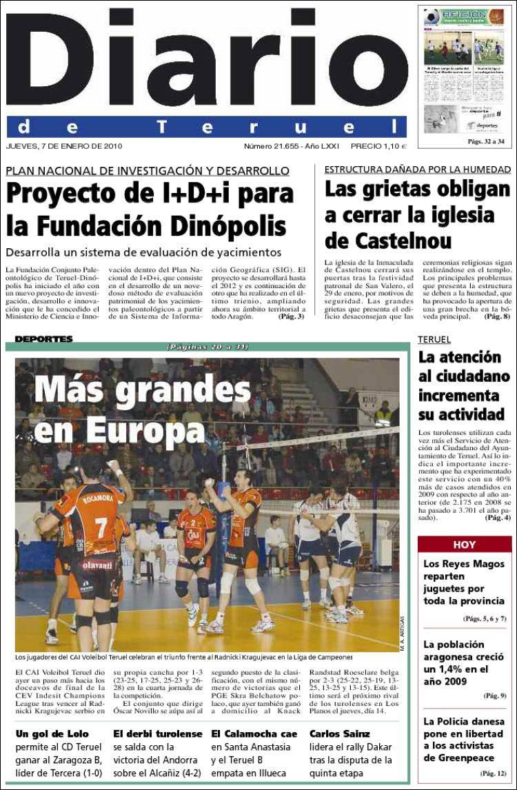 Peri dico diario de teruel espa a peri dicos de espa a edici n de jueves 7 de enero de 2010 - Puerta de madrid periodico ...
