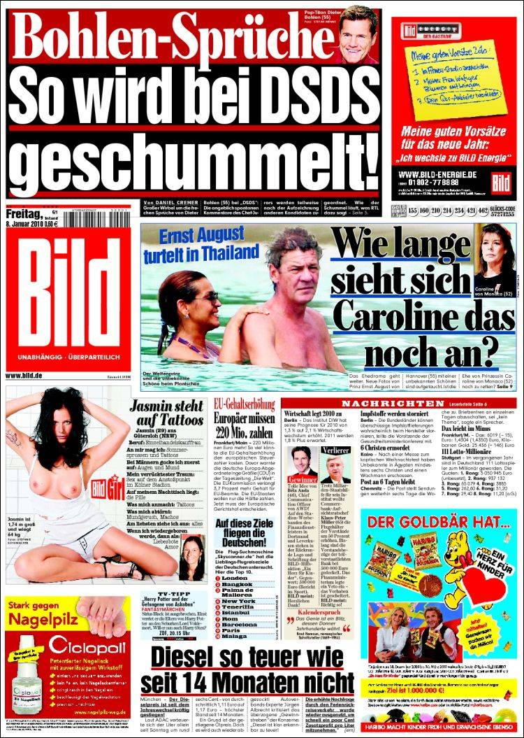 newspaper bild germany newspapers in germany friday 39 s edition january 8 of 2010. Black Bedroom Furniture Sets. Home Design Ideas