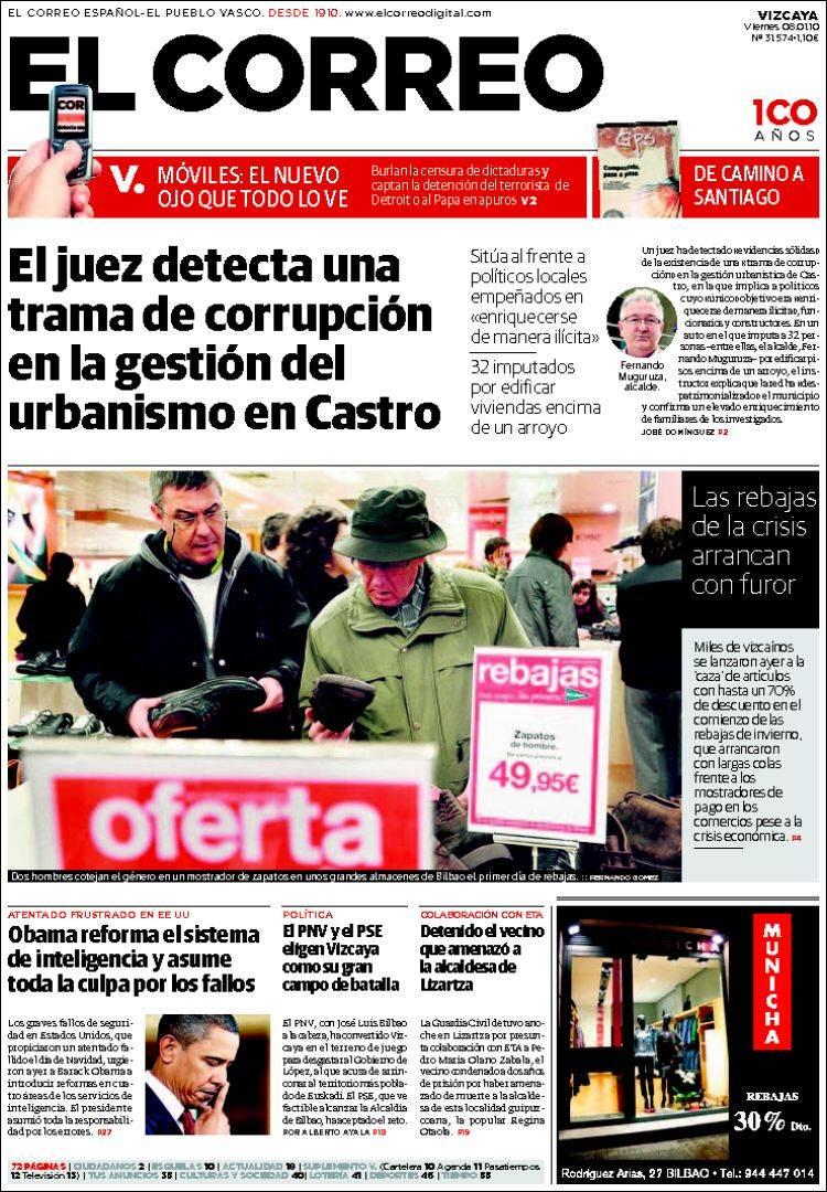 Peri dico el correo espa a peri dicos de espa a edici n de viernes 8 de enero de 2010 - Puerta de madrid periodico ...