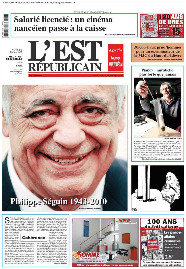 Journal L'Est Republicain (France). Les Unes des journaux de