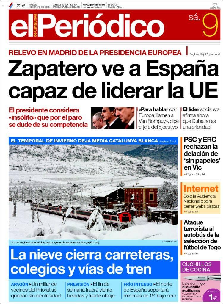 Peri dico el peri dico espa a peri dicos de espa a edici n de s bado 9 de enero de 2010 - Puerta de madrid periodico ...