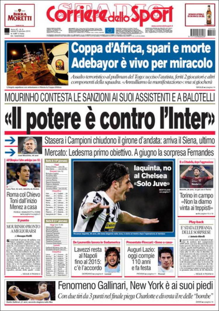 journal corriere dello sport italie les unes des journaux de italie dition du samedi 9 de. Black Bedroom Furniture Sets. Home Design Ideas