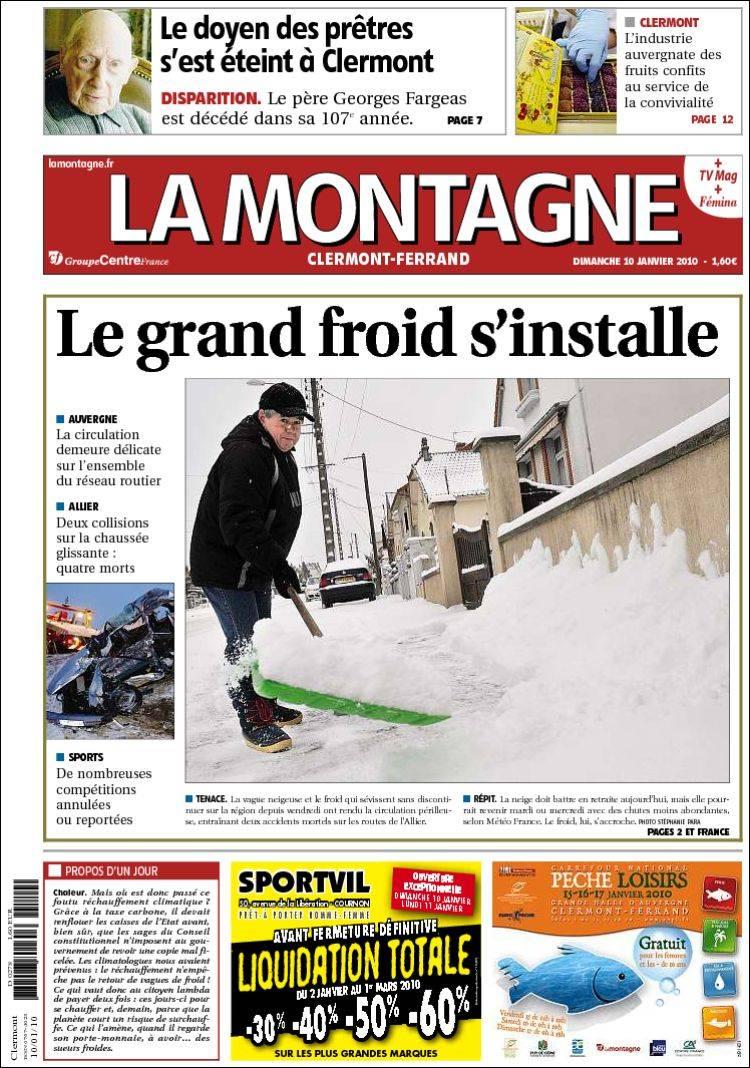 Journal la montagne france les unes des journaux de france dition du dim - Journal la montagne 15 ...