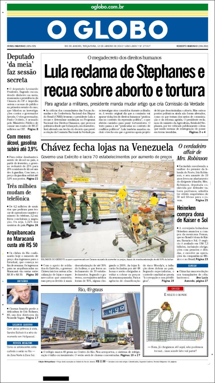Newspaper o globo brasil newspapers in brasil tuesday 39 s edition january 12 of 2010 - Oglo o ...