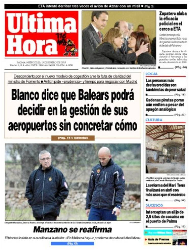 Newspaper ltima hora spain newspapers in spain for Ultima hora sobre clausula suelo