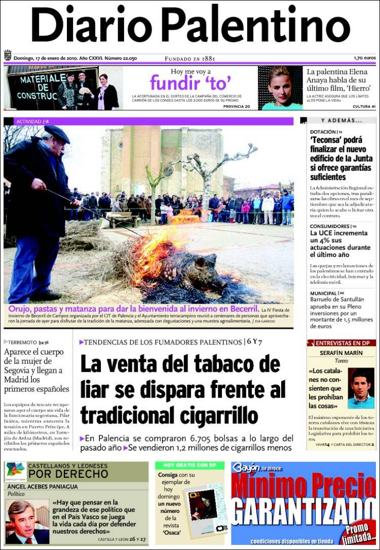 Peri dico diario palentino espa a peri dicos de espa a edici n de domingo 17 de enero de - Puerta de madrid periodico ...