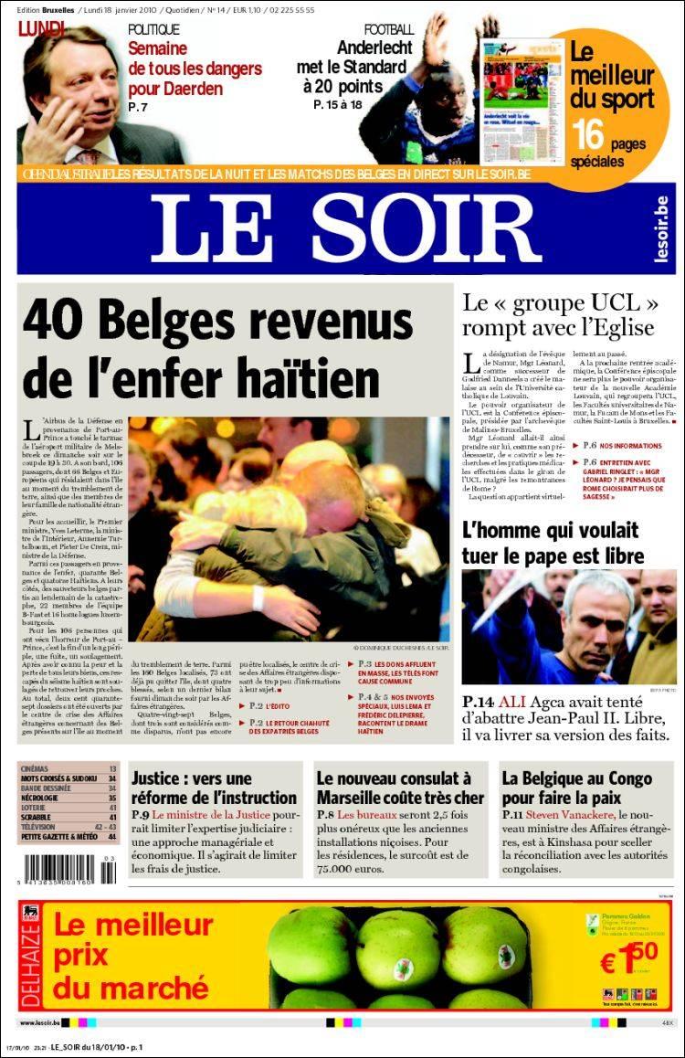 journal le soir belgique les unes des journaux de belgique dition du lundi 18 de janvier. Black Bedroom Furniture Sets. Home Design Ideas