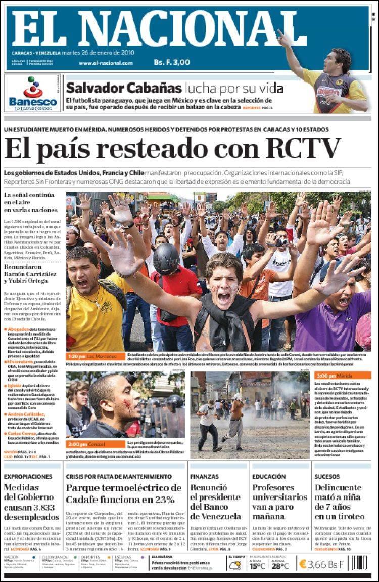 Periodico El Nacional Venezuela Periodicos De Venezuela Edicion De Martes 26 De Enero De 2010 Kiosko Net