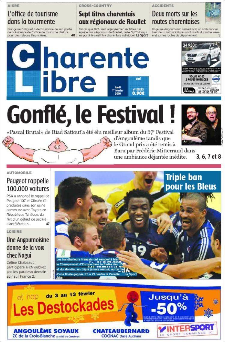 Journal CHARENTE LIBRE (France). Les Unes des journaux de France ...
