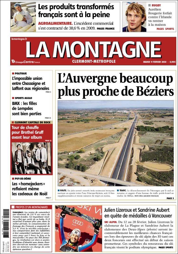 Journal la montagne france les unes des journaux de france dition du mar - Le journal la montagne ...