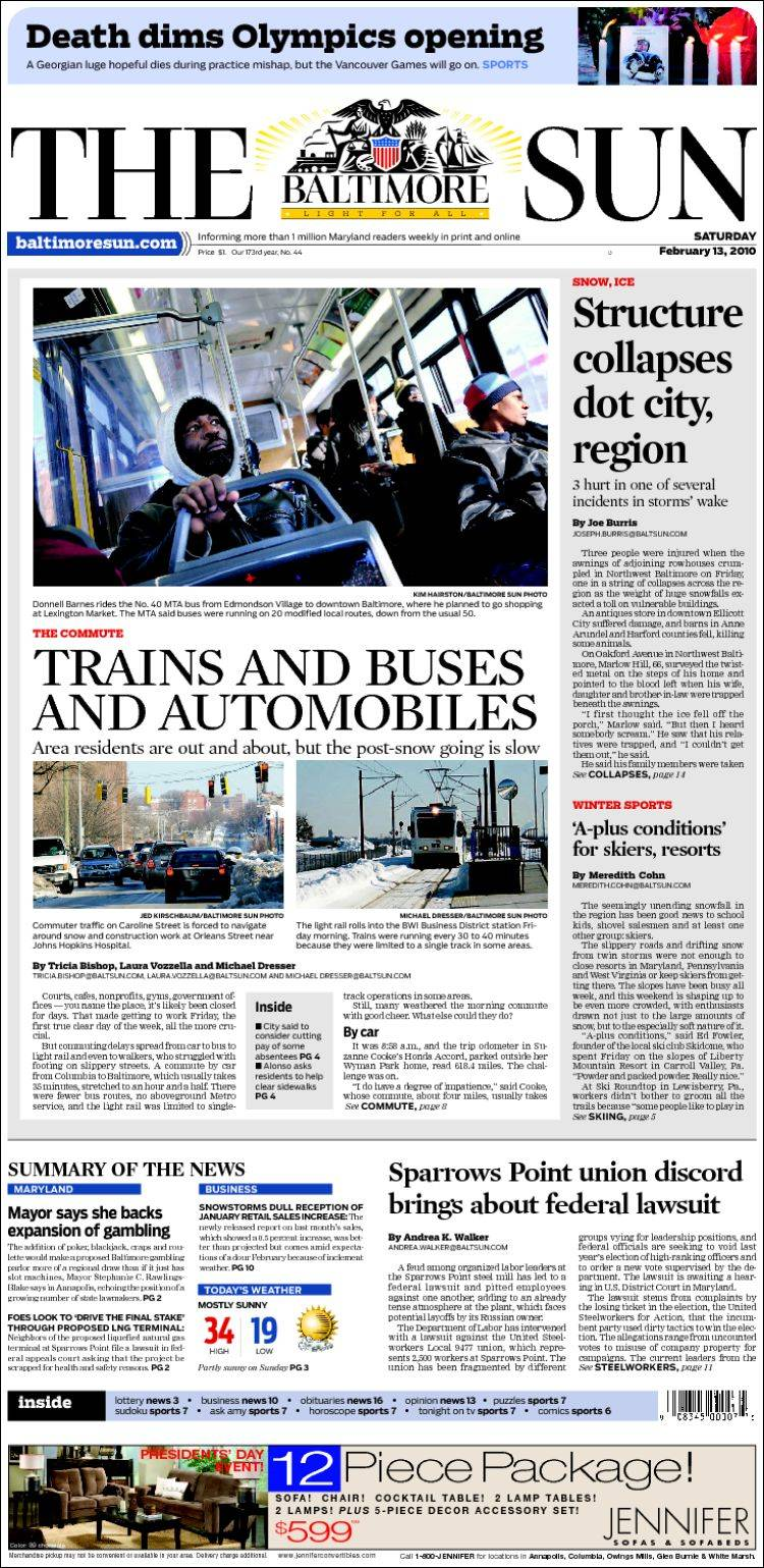 Newspaper The Baltimore Sun  USA  Newspapers in USA Saturdays OZqce7Zr
