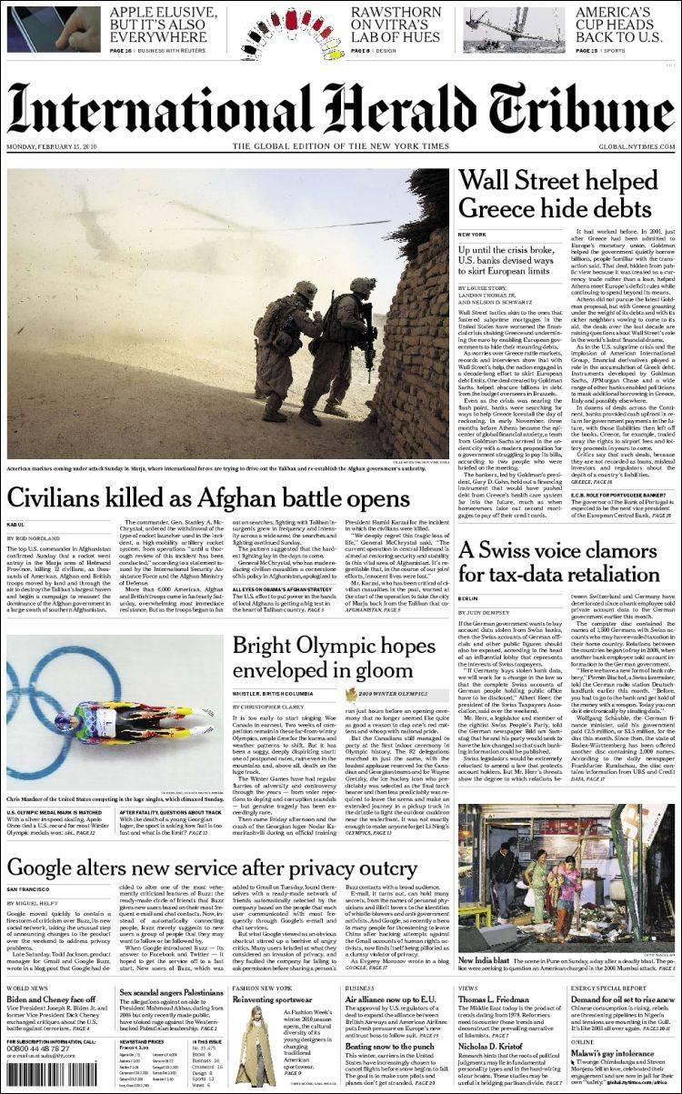 Portada de International Herald Tribune (Europe)
