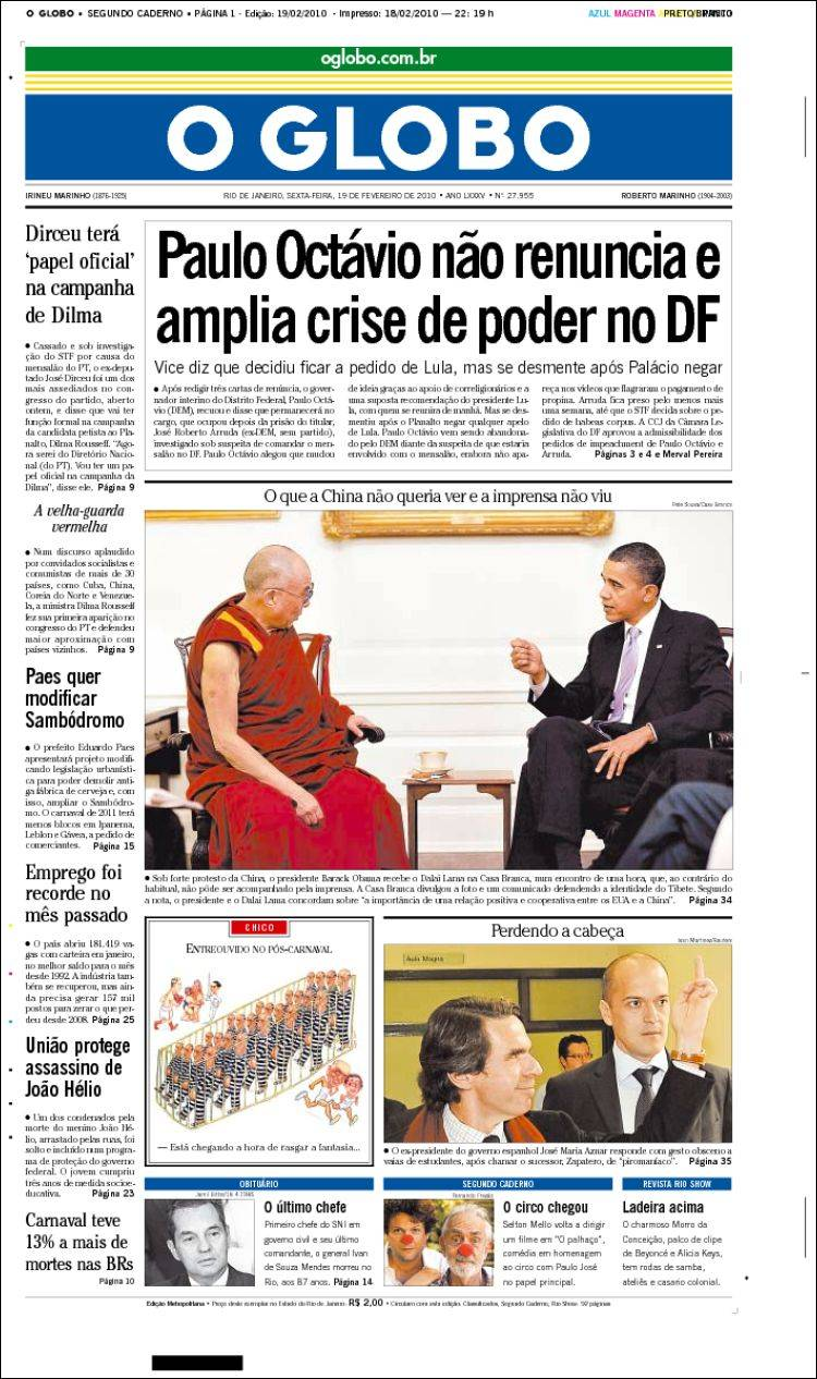 Newspaper o globo brasil newspapers in brasil friday 39 s edition february 19 of 2010 - Oglo o ...