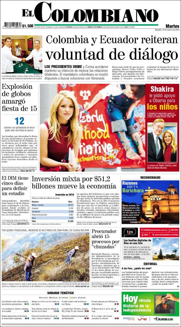 Periódico El Colombiano (Colombia). Periódicos de Colombia