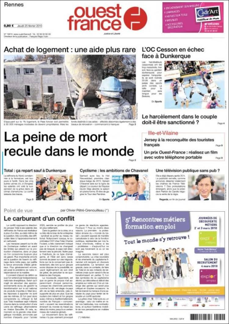 journal ouest france france les unes des journaux de france dition du jeudi 25 de f vrier. Black Bedroom Furniture Sets. Home Design Ideas