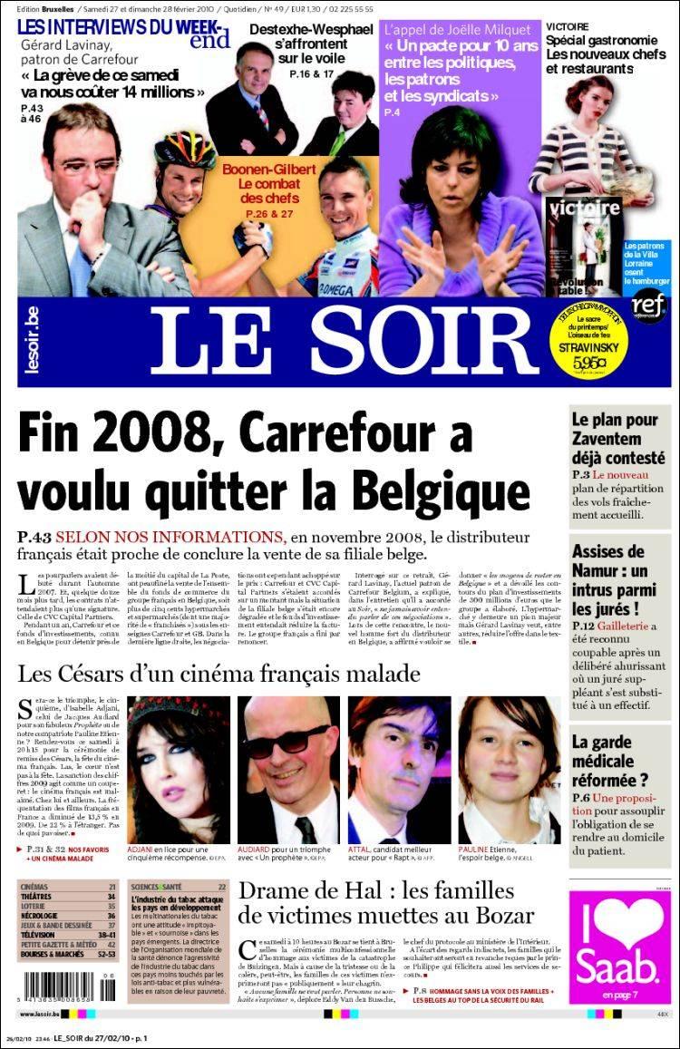 journal le soir belgique les unes des journaux de belgique dition du samedi 27 de f vrier. Black Bedroom Furniture Sets. Home Design Ideas