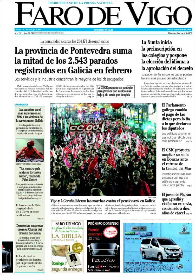 Periódico Faro de Vigo (España). Periódicos de España ...