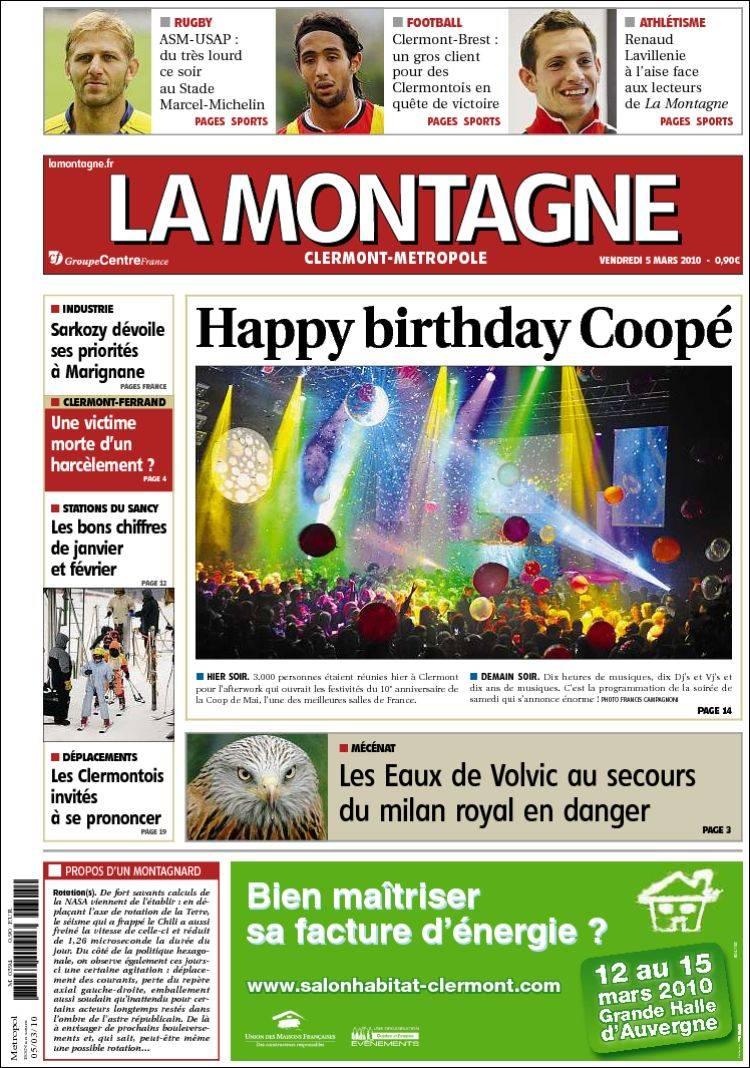 Journal la montagne france les unes des journaux de france dition du ven - Journal la montagne 15 ...