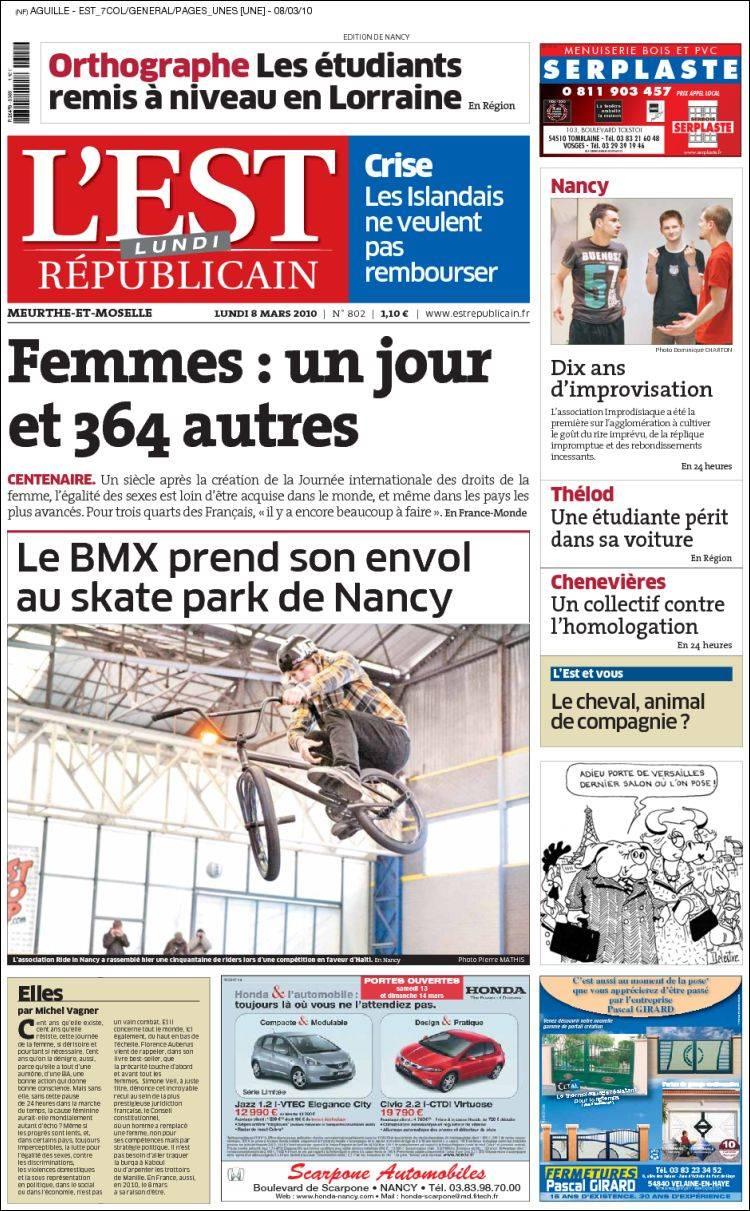 journal l 39 est republicain france les unes des journaux de france dition du lundi 8 de mars. Black Bedroom Furniture Sets. Home Design Ideas