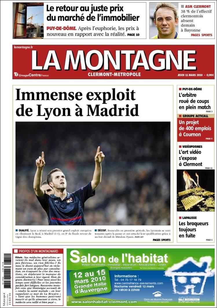 Journal la montagne france les unes des journaux de france dition du jeu - Le journal la montagne ...