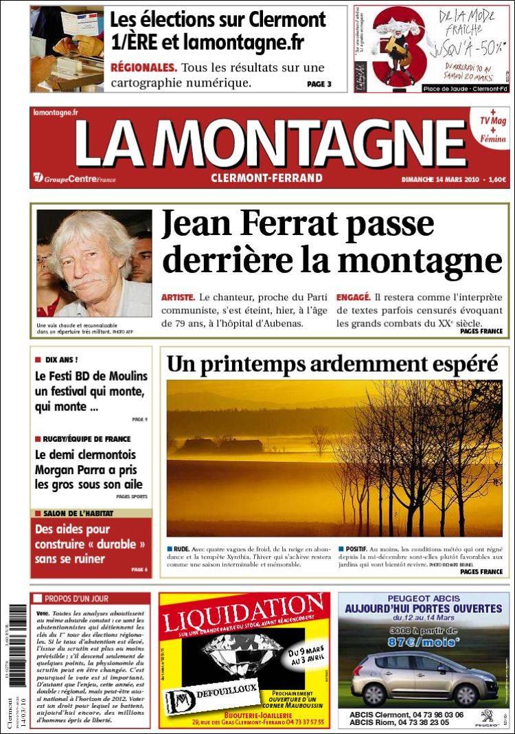 Journal la montagne france les unes des journaux de france dition du dim - Le journal de la une ...