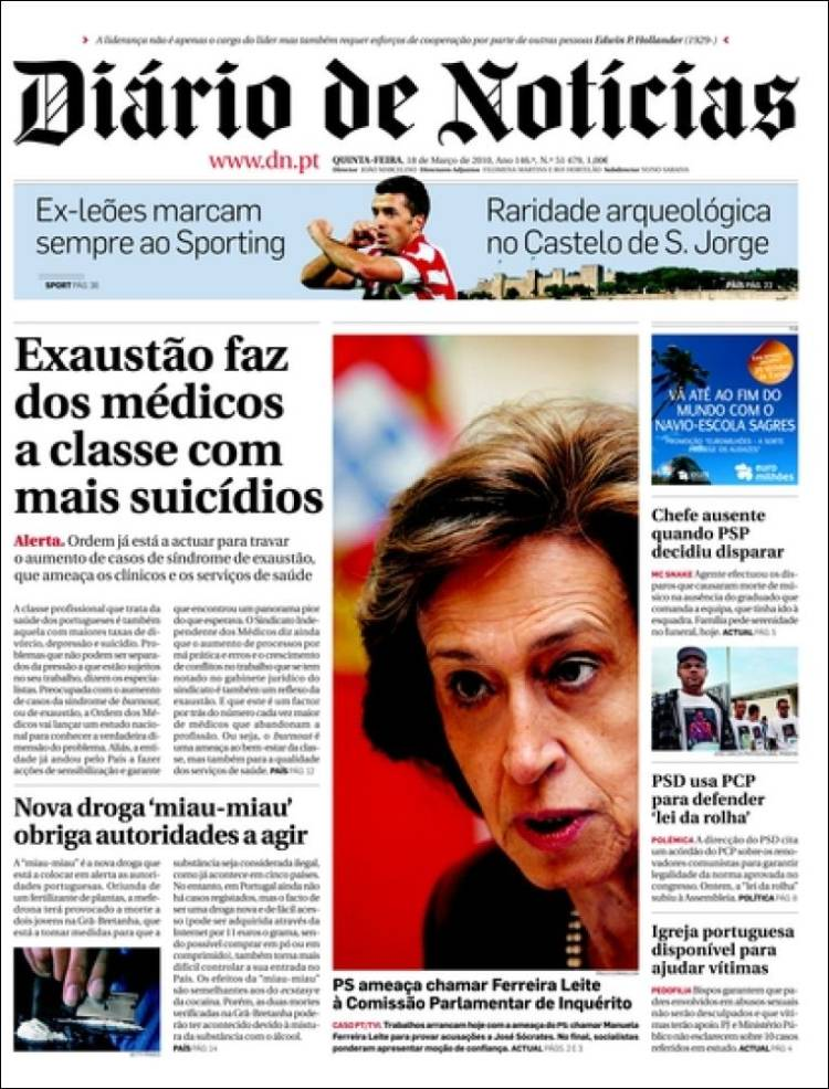 Newspaper Di 225 Rio De Noticias Portugal Newspapers In Portugal Thursday S Edition March 18 Of