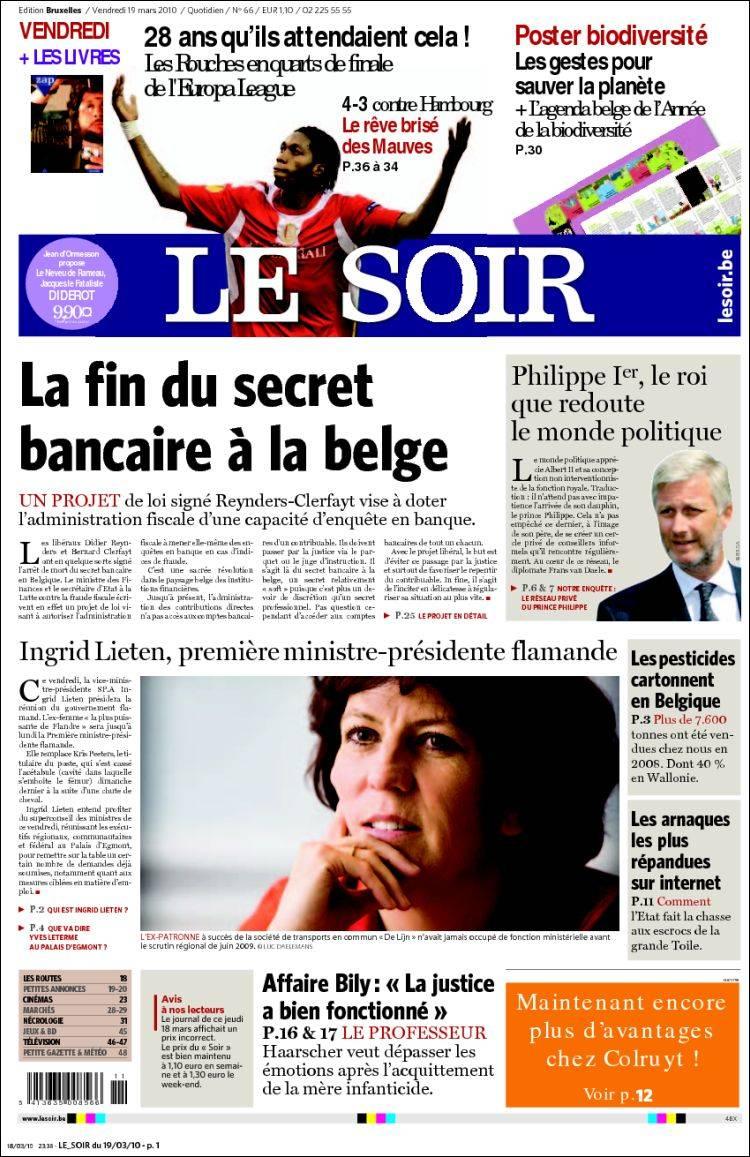 journal le soir belgique les unes des journaux de belgique dition du vendredi 19 de mars. Black Bedroom Furniture Sets. Home Design Ideas