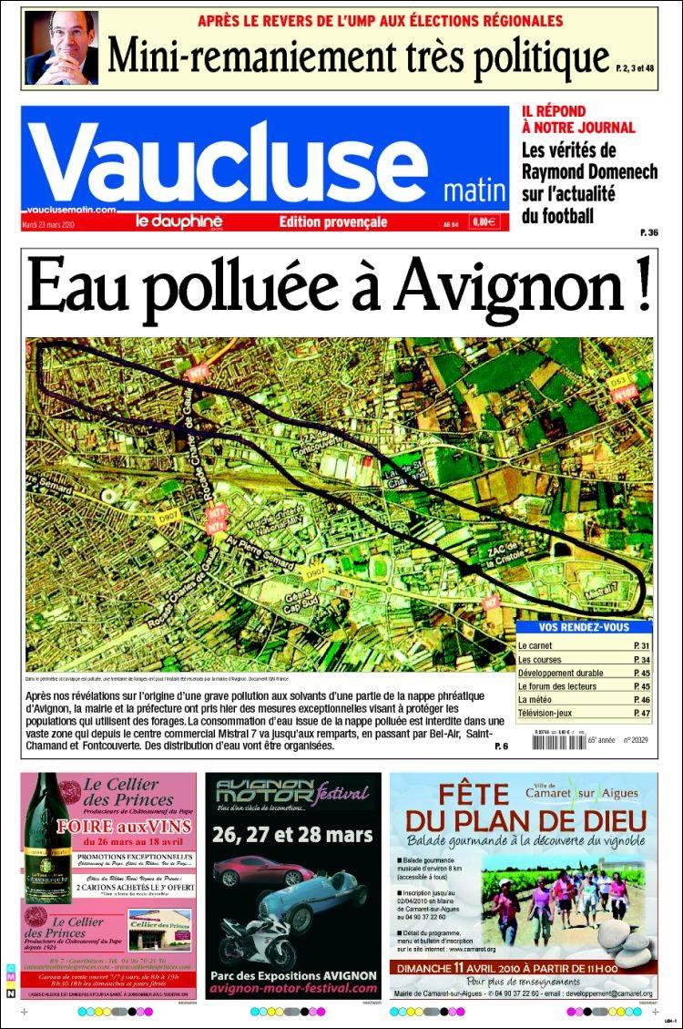 journal vaucluse france les unes des journaux de france dition du mardi 23 de mars de 2010. Black Bedroom Furniture Sets. Home Design Ideas