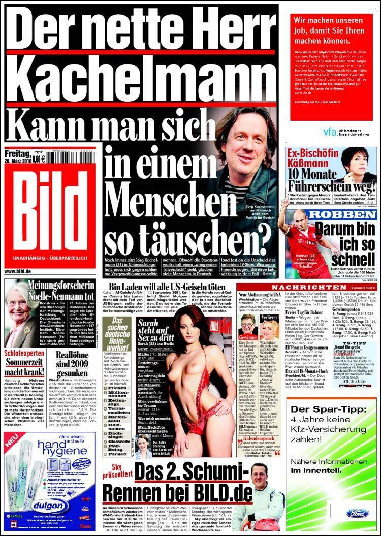 Newspaper Bild Germany Newspapers In Germany Fridays Edition