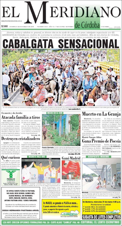 Portada de El Meridiano de Córdoba (Colombie)