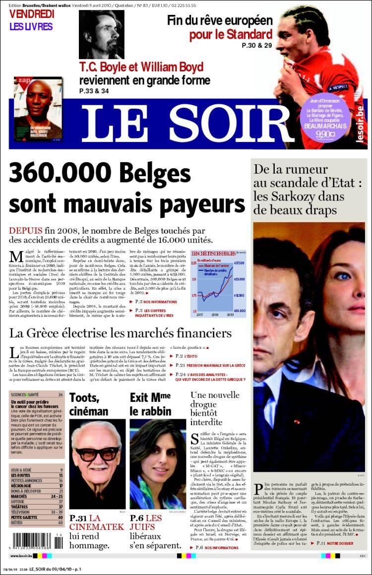 journal le soir belgique les unes des journaux de belgique dition du vendredi 9 de avril. Black Bedroom Furniture Sets. Home Design Ideas