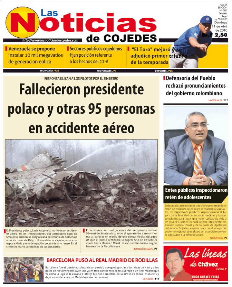 Portada de Las Noticias de Cojedes (Venezuela)