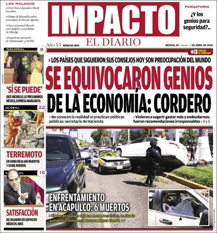 Periódico Impacto El Diario (México). Periódicos de México ...