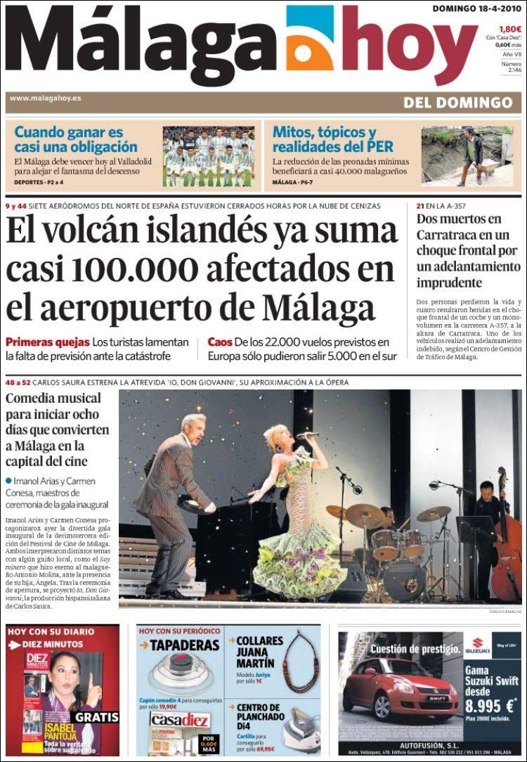 Peri dico m laga hoy espa a peri dicos de espa a edici n de domingo 18 de abril de 2010 - Puerta de madrid periodico ...
