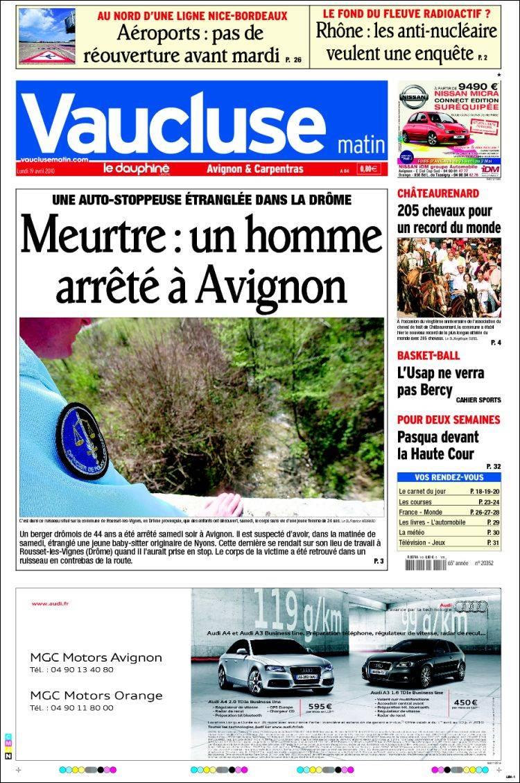 journal vaucluse france les unes des journaux de france dition du lundi 19 de avril de. Black Bedroom Furniture Sets. Home Design Ideas