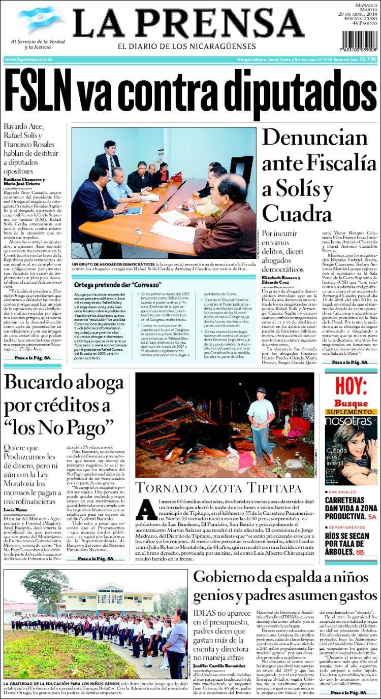 Newspaper La Prensa Nicaragua Newspapers In Tuesdays Aku April 2010
