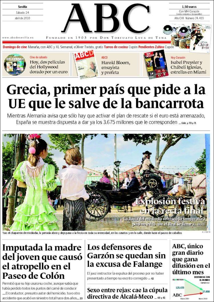 Peri dico abc sevilla espa a peri dicos de espa a edici n de s bado 24 de abril de 2010 - Puerta de madrid periodico ...