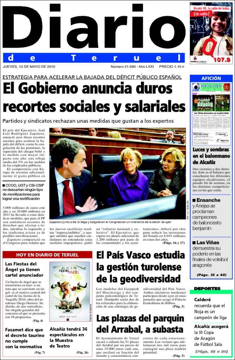 Peri dico diario de teruel espa a peri dicos de espa a edici n de jueves 13 de mayo de 2010 - Puerta de madrid periodico ...