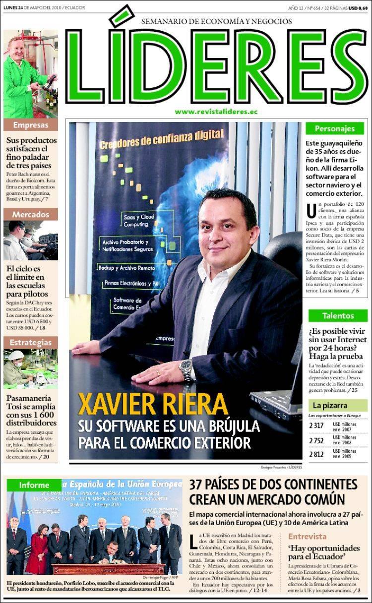 Portada de Revista Líderes (Ecuador)