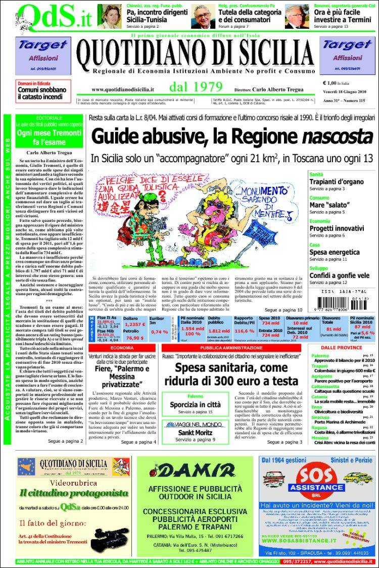 Newspaper Quotidiano Di Sicilia Italy Newspapers In Italy