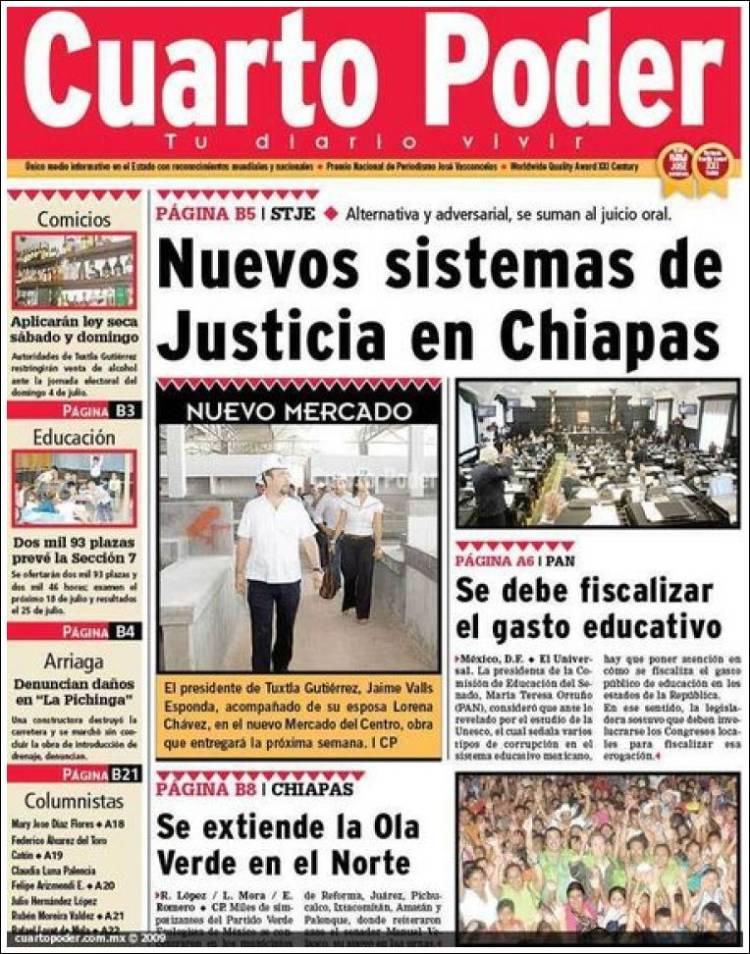 Periódico El Cuarto Poder (México). Periódicos de México. Edición de ...