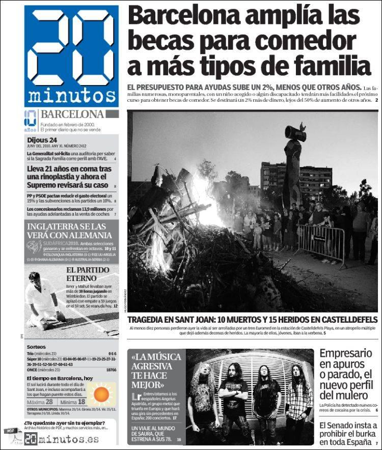 Periódico 20 Minutos - Barcelona (España). Periódicos de España ...