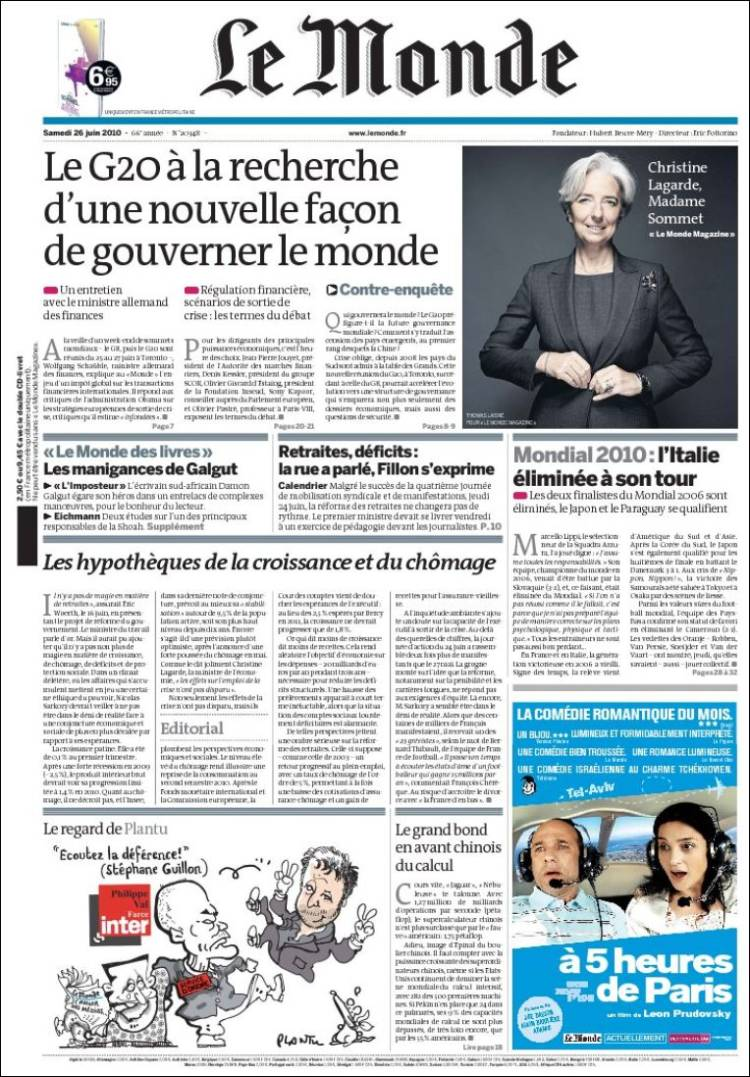 Newspaper Le Monde (France). Newspapers in France. Saturdays.
