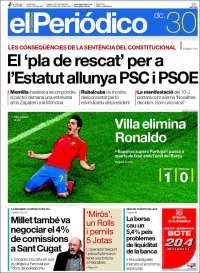 hoy 30 de junio. ¿k portada deportiva os parece VERGONZOSA???? Elperiodico_cat.200