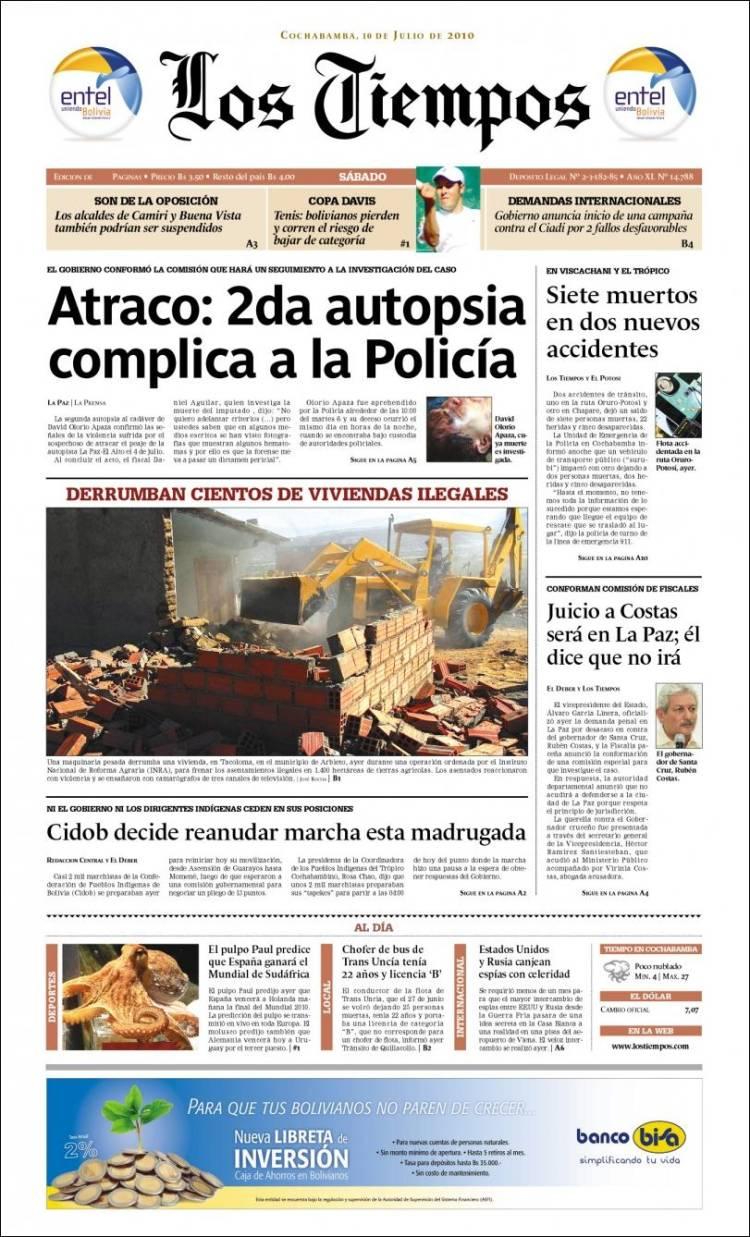Periódico Los Tiempos (Bolivia). Periódicos de Bolivia. Edición de ...